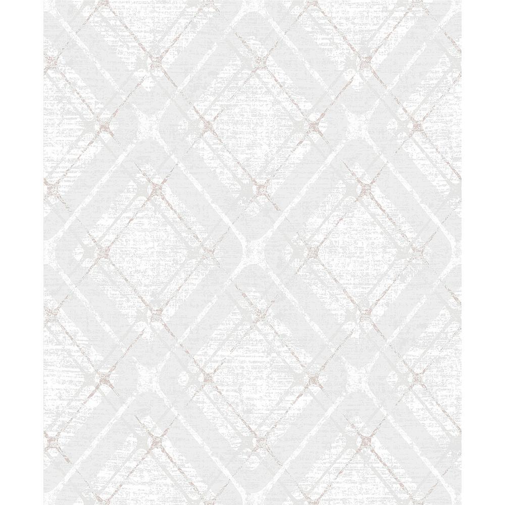 Advantage 8 in. x 10 in. Hadley Light Grey Argyle Wallpaper