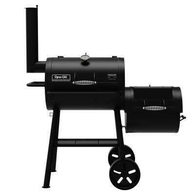 Signature Series Heavy Duty Barrel Charcoal Grill and Offset Smoker in Black