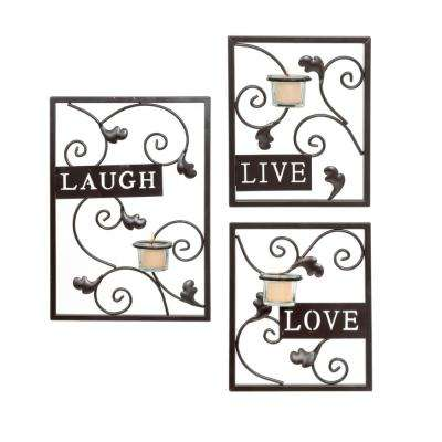 Live, Laugh, Love Wall Decor with Tealight Sconce