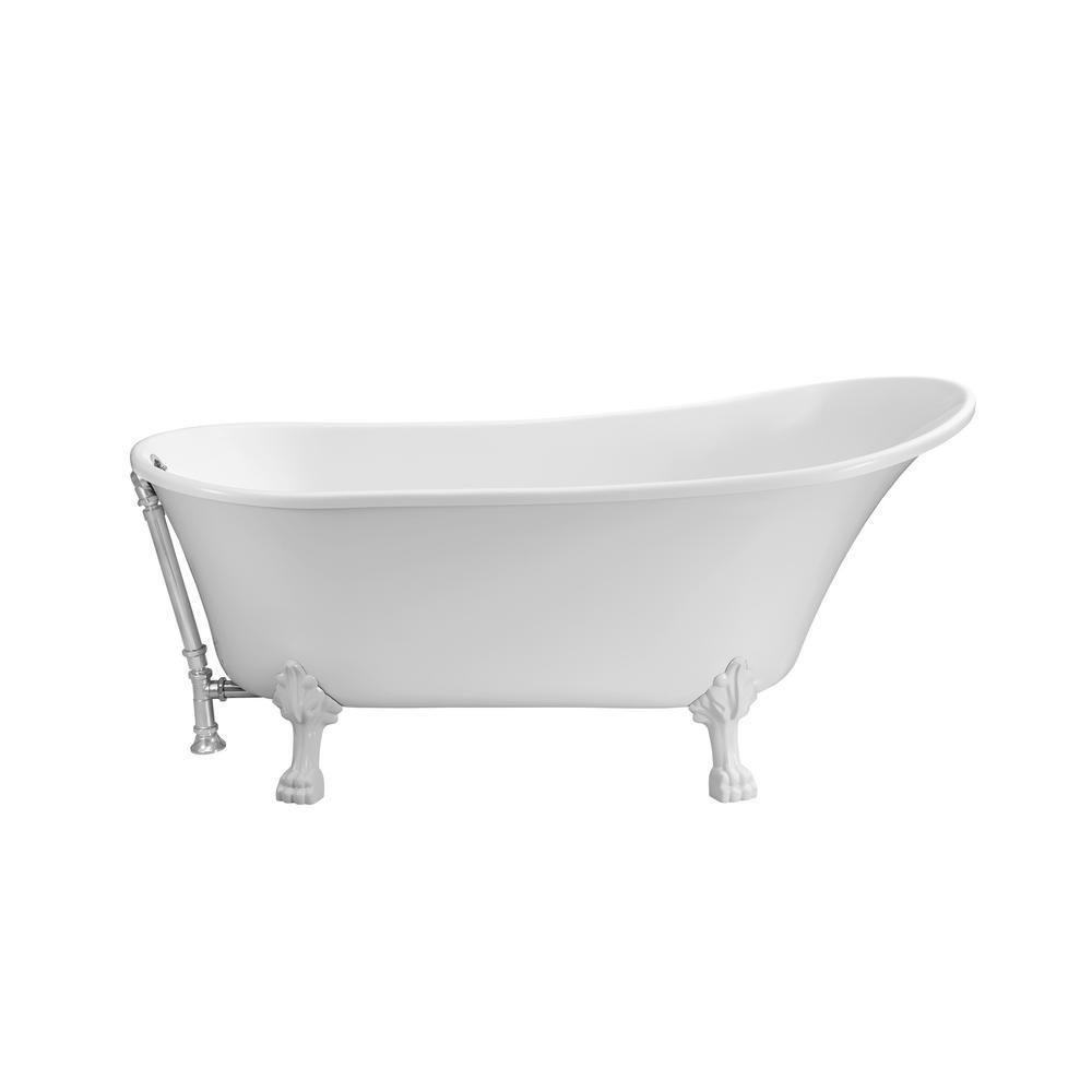 StreamLine 66.9 in. Acrylic Clawfoot Non-Whirlpool Bathtub in White ...