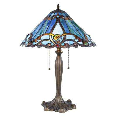 25.5 in. Blue Lamp with Stained Glass Shade