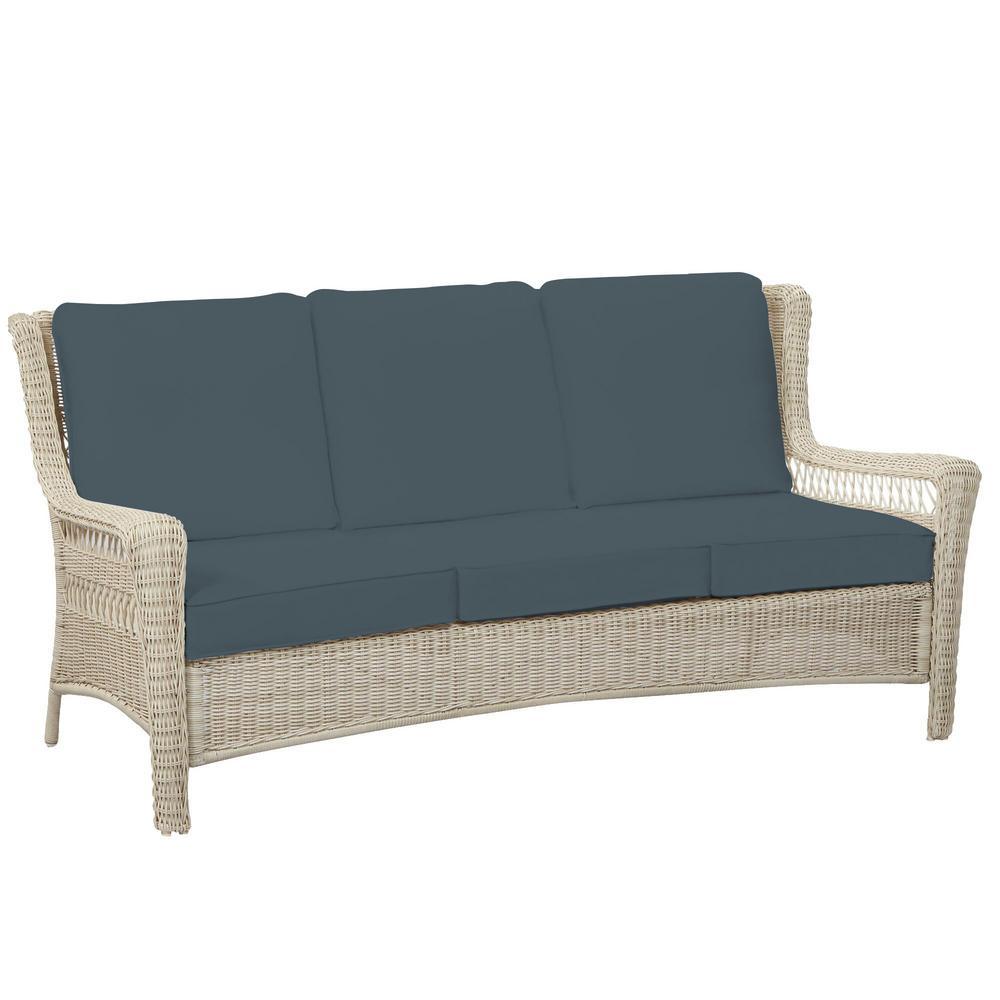 Park Meadows Off-White Wicker Outdoor Patio Sofa with Sunbrella Denim Blue Cushions