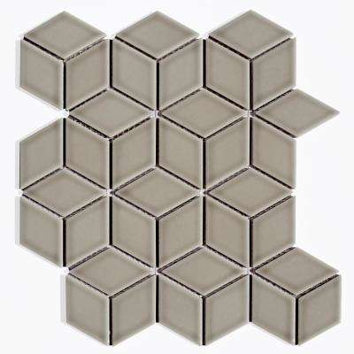 Gray Mosaic 2 in. x 2 in. Glossy Porcelain Mesh Mounted Decorative Bathroom Wall Backsplash Tile (0.9 Sq. ft.)