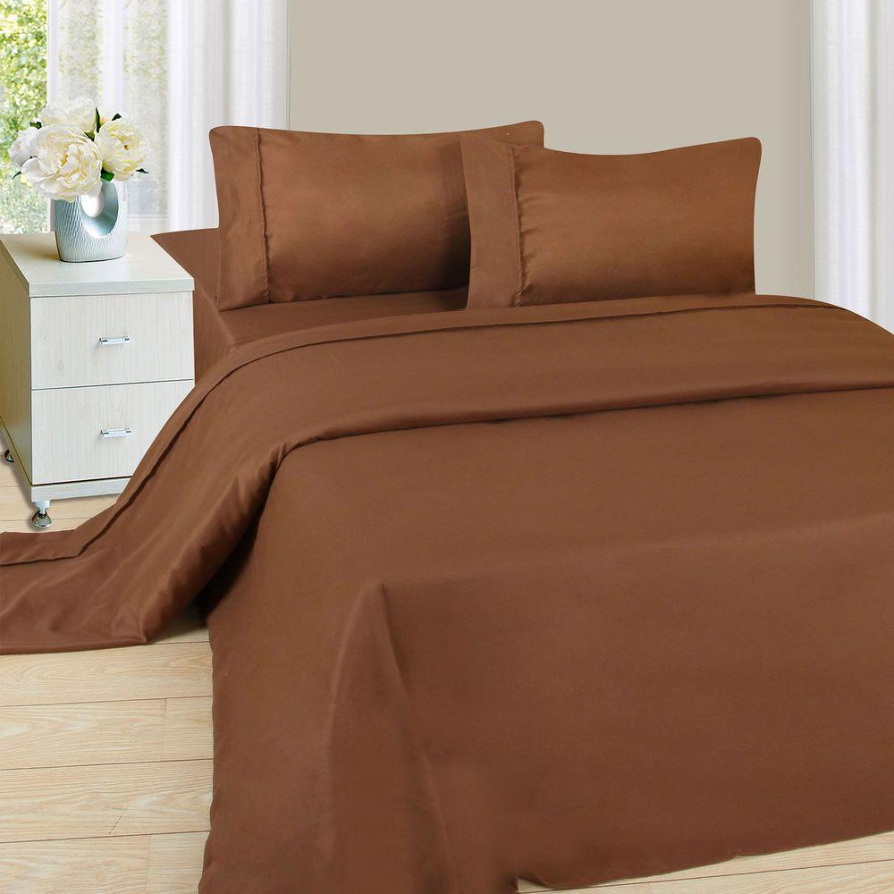 Lavish Home 1200 Series Chocolate 75 gsm Twin-XL Microfiber Sheet Set (3-Piece)