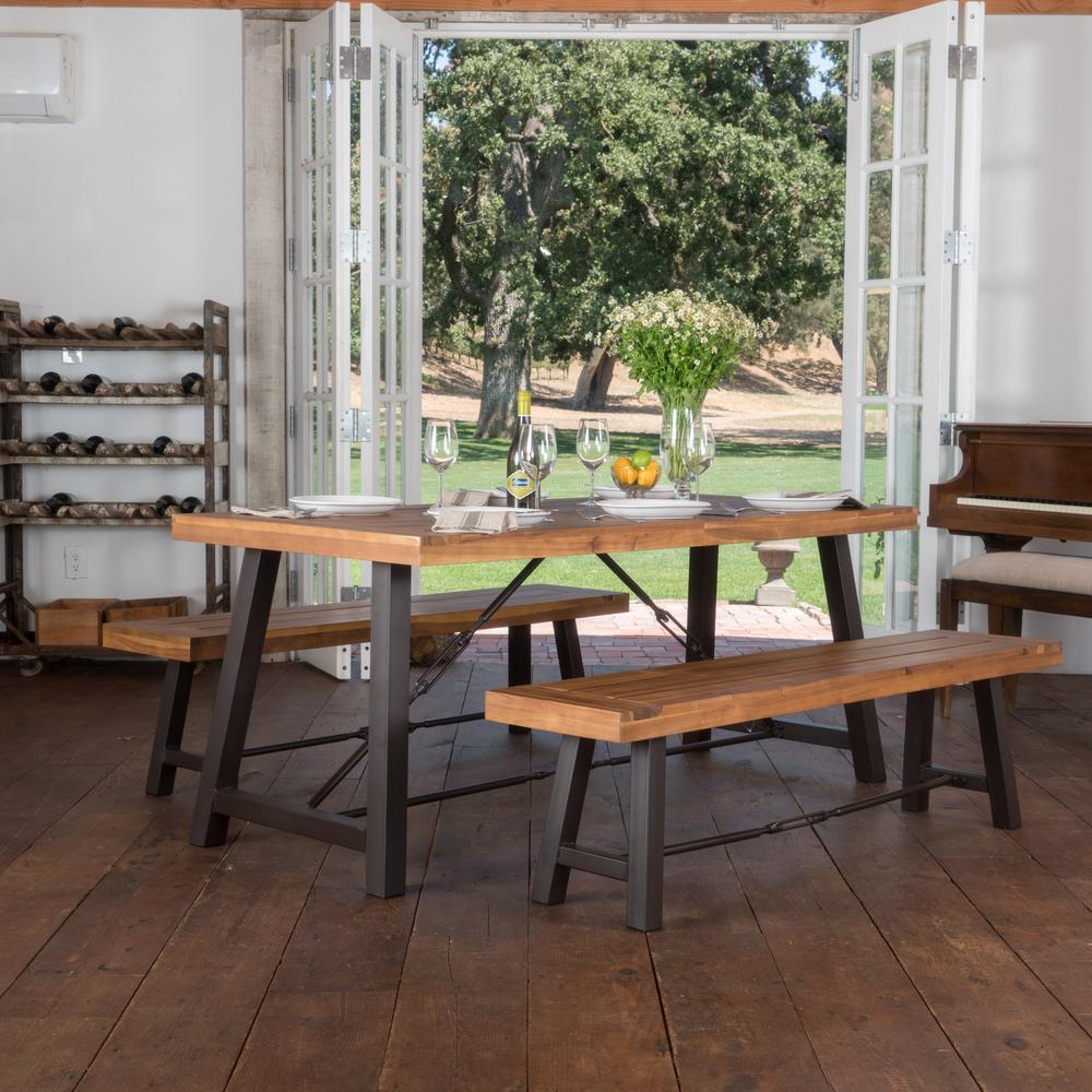 Teak Dining Room Set: Noble House Simone 3-Piece Teak Finish Acacia Wood Dining