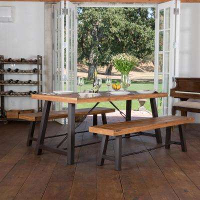 Simone 3-Piece Teak Finish Acacia Wood Dining Set