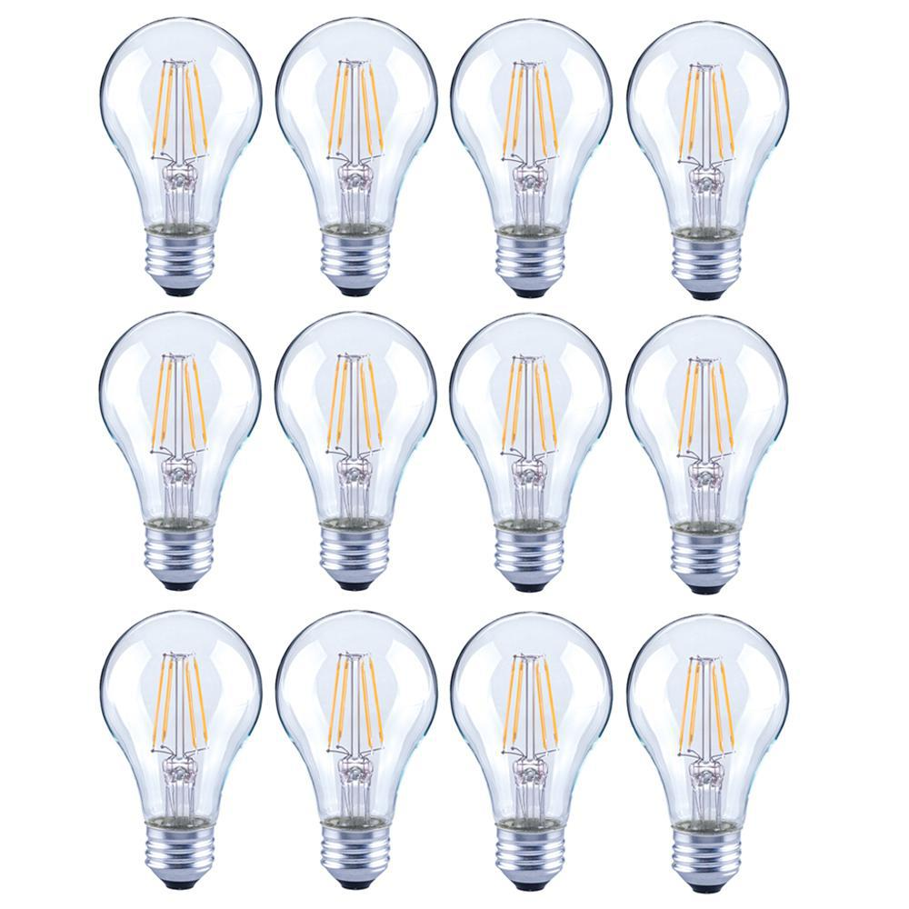 Lighting Science 40 Watt Equivalent A19 General Purpose Dimmable Clear Gl Filament Led Light Bulb Daylight 12 Pack