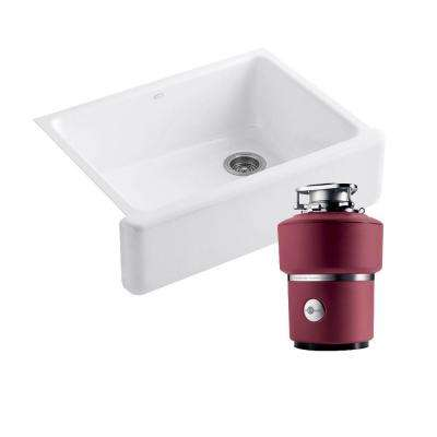 Whitehaven Undermount Cast Iron 30 in. 0-Hole Kitchen Sink in White with InSinkErator Supreme 1 HP Disposal