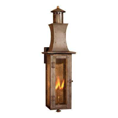 Outdoor Washed Pewter Gas Wall Lantern
