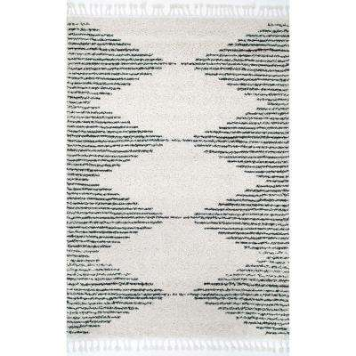 Bria Moroccan Diamond Tassel Off White 10 ft. 2 in. x 14 ft. Area Rug