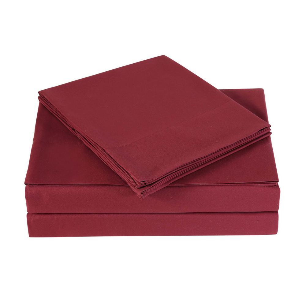 Everyday Burgundy Twin XL Sheet Set