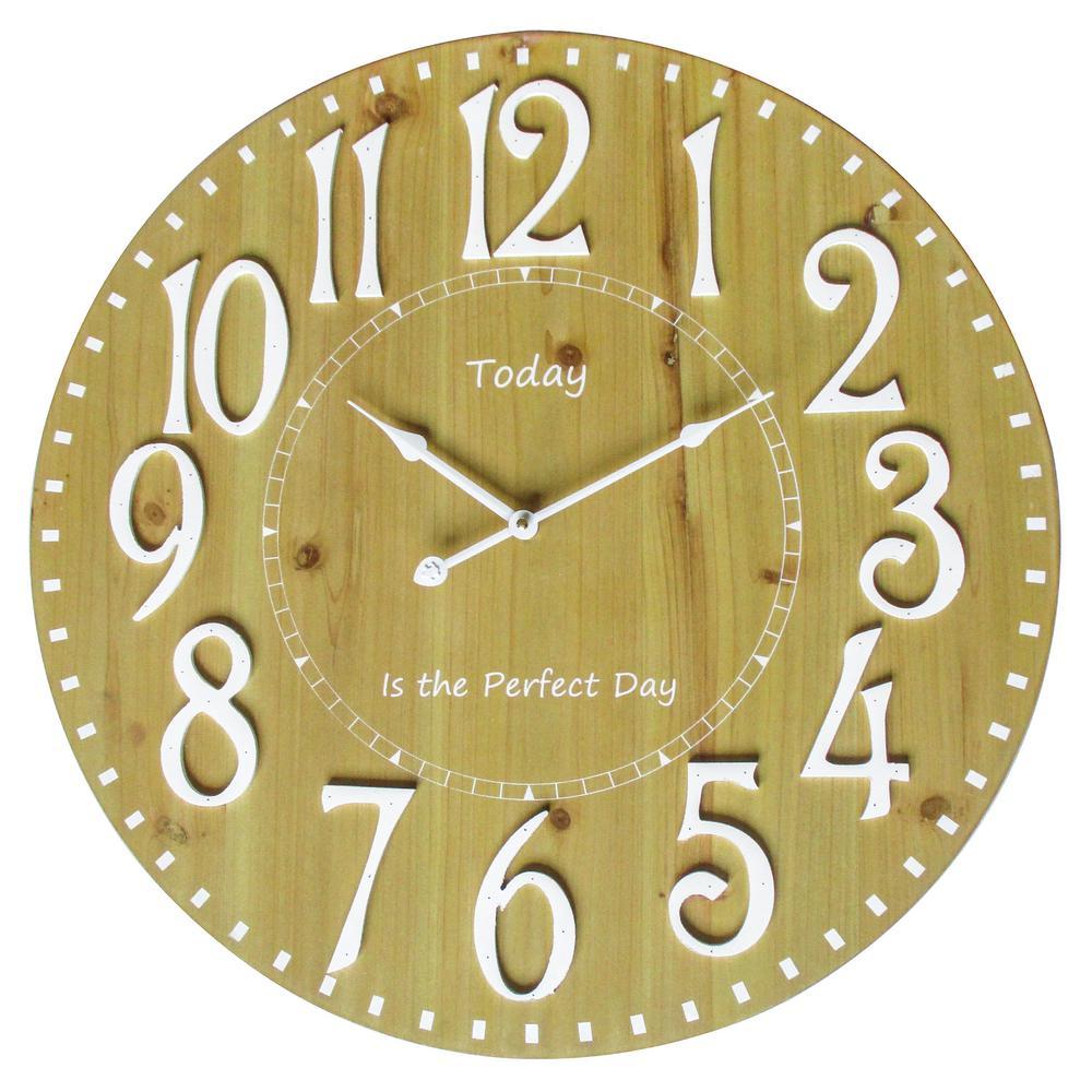 Yosemite Home Decor Perfect Day I Natural Wood Anolog Wall Clock ...
