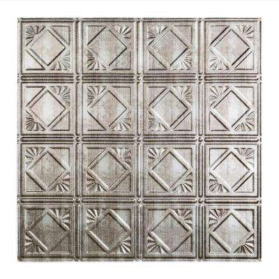Traditional Style # 4 - 2 ft. x 2 ft. Vinyl Lay-In Ceiling Tile in Crosshatch Silver
