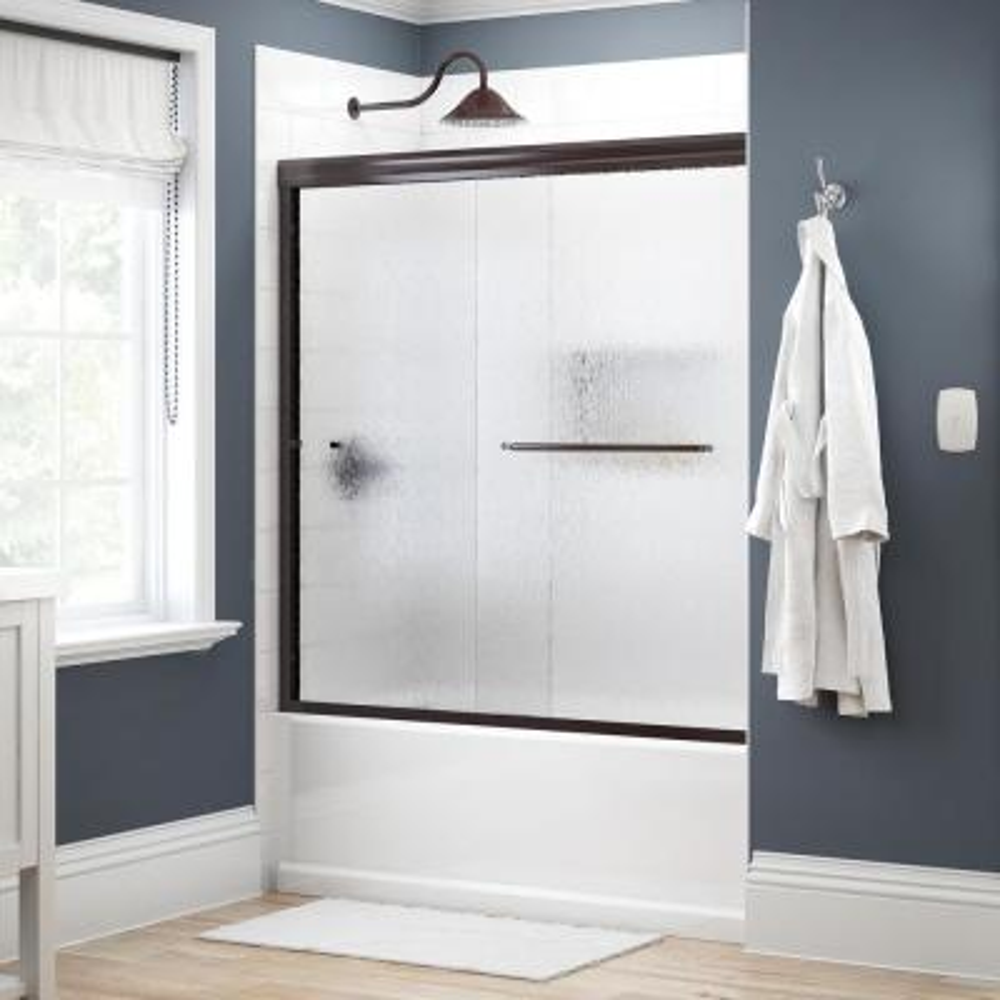Simplicity 60 in. x 58-1/8 in. Semi-Frameless Traditional Sliding Bathtub Door in Bronze with Rain Glass