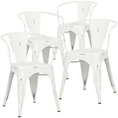 Cantina Distressed White Arm Chair (Set of 4)