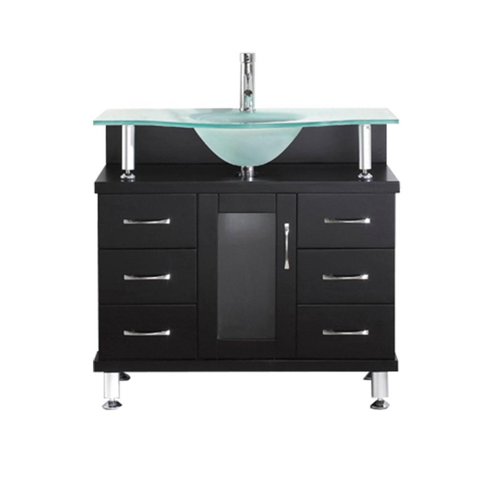Virtu USA Vincente 35.83 in. W x 21.65 in. D x 33.54 in. H Espresso Vanity With Glass Vanity Top With Aqua Round Basin