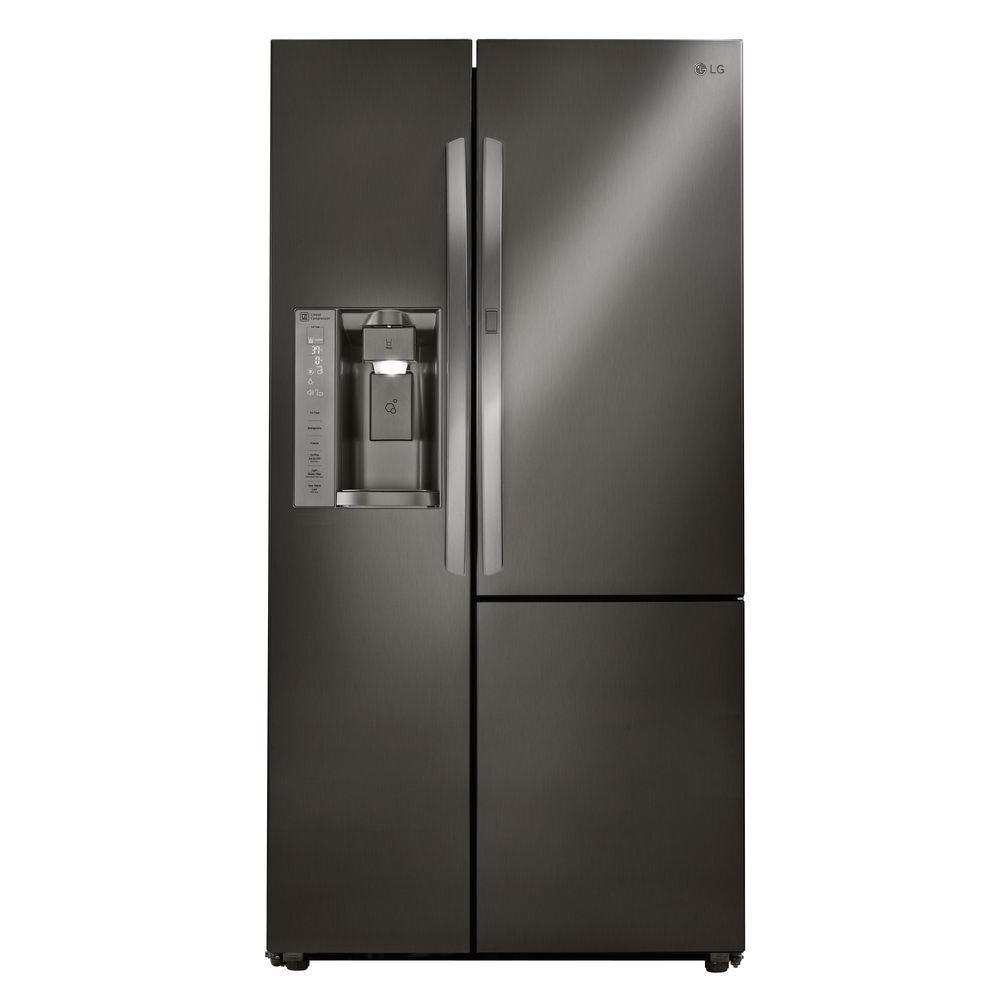 26 cu. ft. Side-by-Side Refrigerator with Door-in-Door in Black Stainless Steel