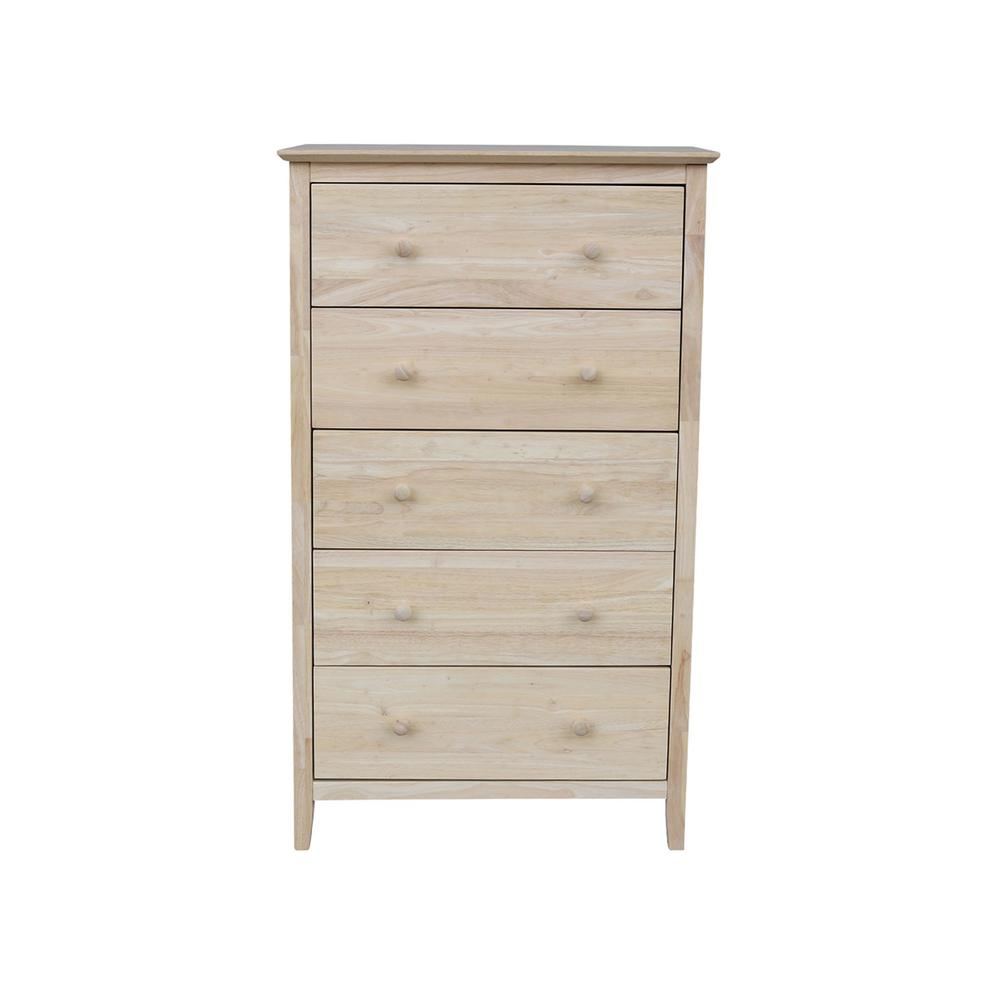 International Concepts Brooklyn 5 Drawer Unfinished Wood Chest Bd 8005 The Home Depot