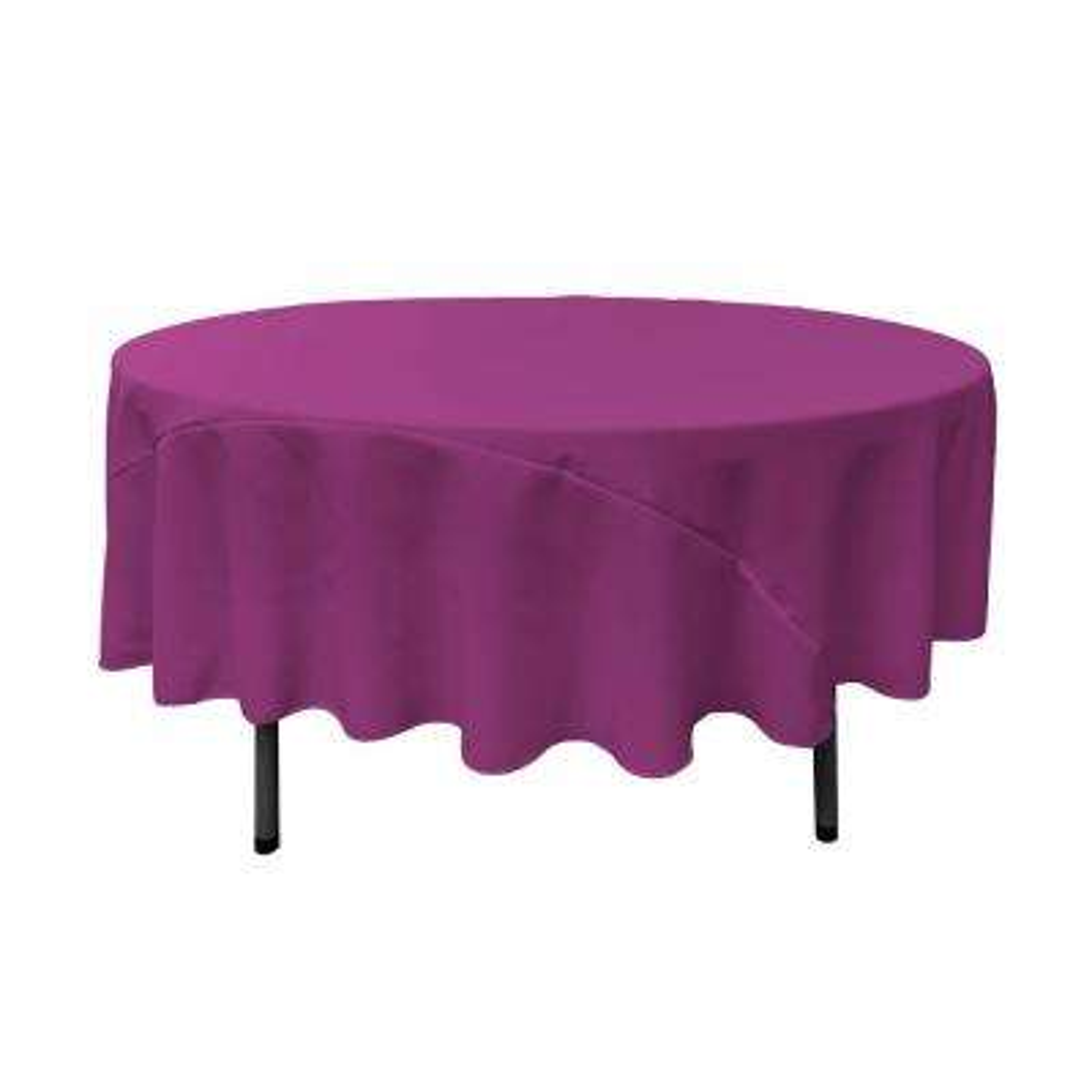 90 in. Magenta Polyester Poplin Round Tablecloth