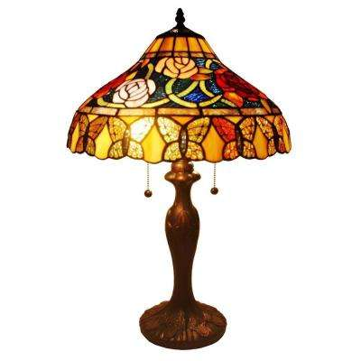 24 in. Tiffany Style Roses and Butterflies Table Lamp