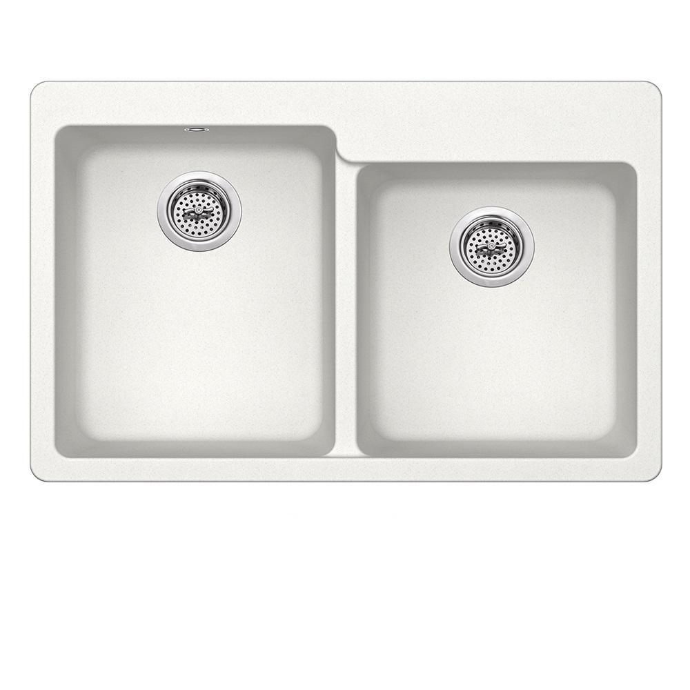 Dual Mount Quartz 33 in. 0-Hole 50/50 Offset Double Bowl Kitchen Sink in Alpine White