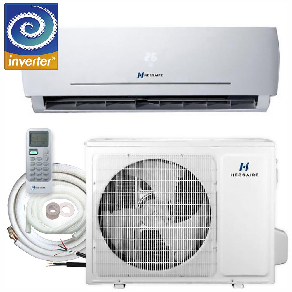 Hessaire 12,000 BTU 1 0 Ton 208/230V Ductless Mini Split Air Conditioner -  Inverter, Heat Pump, Remote and 16 ft  Copper Line Set