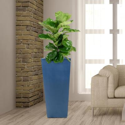 30 in. H Composite Tall Tapered Square Planter in Neptune Blue