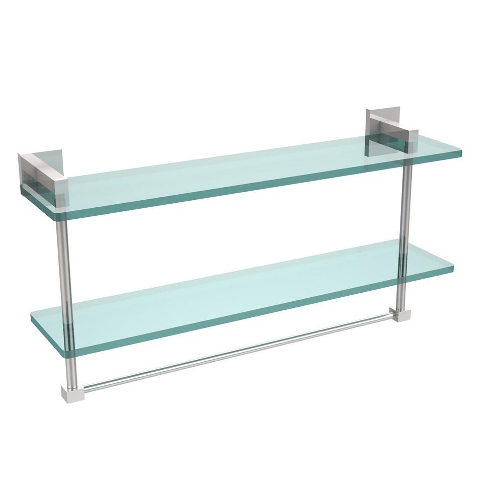 Allied Brass Montero 22 In L X 11 3 4 In H X 5 3 4 In W 2 Tier Clear Glass Bathroom Shelf