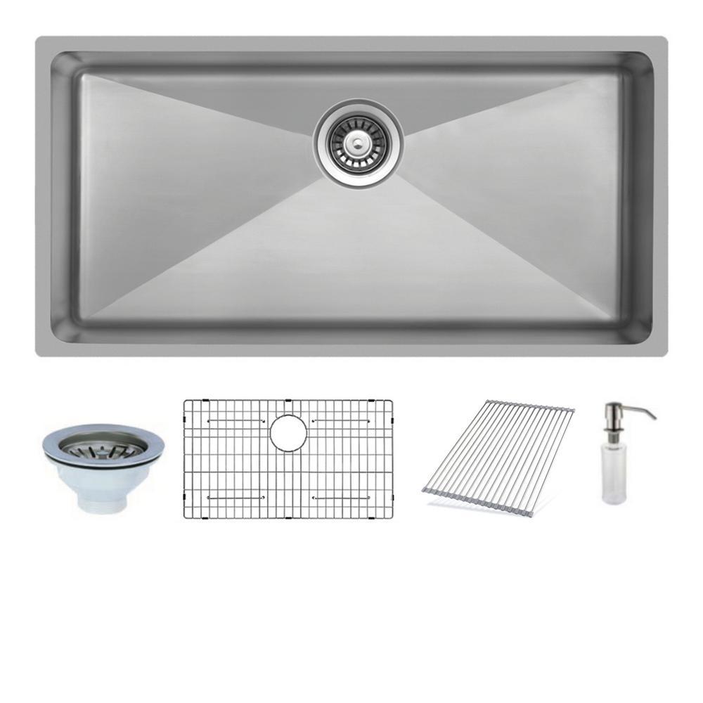 Ukinox Undermount Stainless Steel 33 In Single Bowl Kitchen Sink