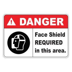 Rectangular Plastic Danger Face Shield Required Safety Sign by