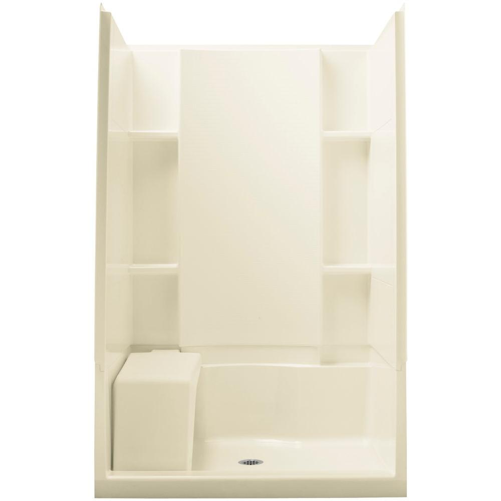 STERLING Accord 36 in. x 48 in. x 74.5 in. Seated Shower Kit with Age-in-Place Backers in Biscuit