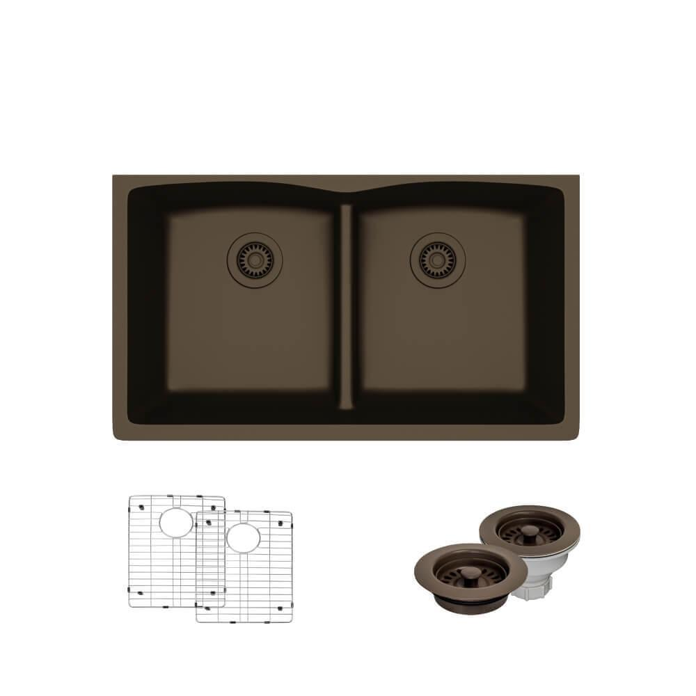 Rene Undermount Composite Granite 33 in. Double Bowl Kitchen Sink in on double sink drain kit, double garbage disposal, double bathroom sink, double sink drain parts, double kitchen faucet, double laundry sink drain, double sink drain configuration, double vanity drain, double sink drain assembly, double sink drain installation, double washer drain, double bowl sink drain, two sinks one drain, double kitchen countertop, double sink drain plumbing, double toilet drain, double sink plumbing with dishwasher, double sink drain diagram, double bowl kitchen sinks, double utility sink drain,