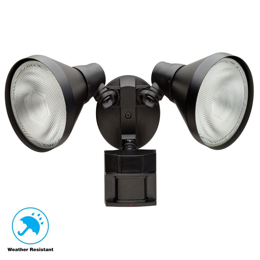 Defiant 180 Degree Black Motion Sensing, Motion Sensor Lamp Outdoor