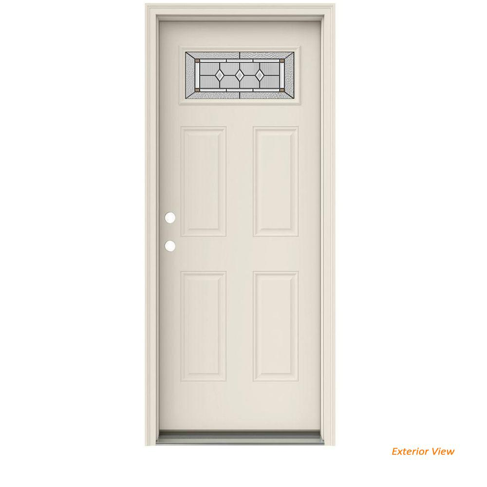 JELD-WEN 32 in. x 80 in. Fan Lite Mission Prairie Impact Rated Primed Steel Prehung Right-Hand Inswing Front Door