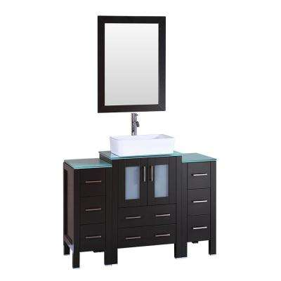 48 in. W Single Bath Vanity with Tempered Glass Vanity Top in Green with White Basin and Mirror