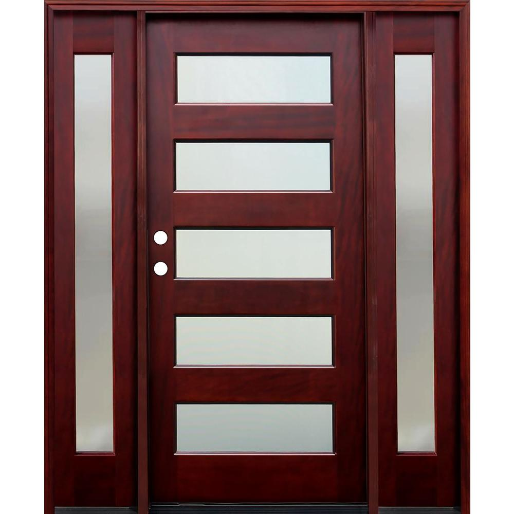 Pacific entries 70 in x 80 in contemporary 5 lite for Wood and glass front entry doors