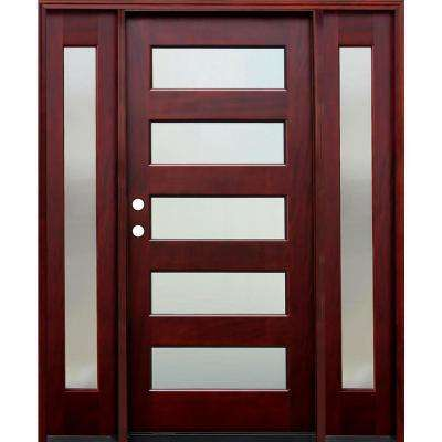 70 in. x 80 in. Contemporary 5 Lite Mistlite Stained Mahogany Wood Prehung Front Door with 14 in. Sidelites