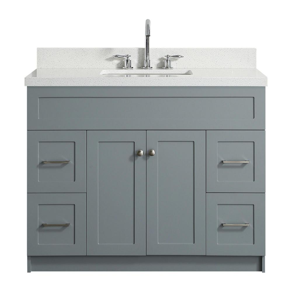 Ariel Hamlet 43 In Bath Vanity Grey With Quartz Top White