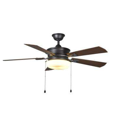Lake George 54 in. LED Indoor/Outdoor Natural Iron Ceiling Fan with Light Kit