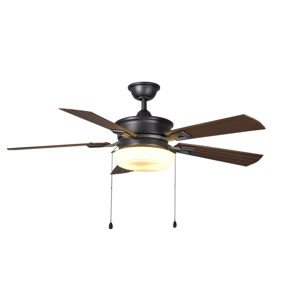 Lake George 54 in. LED Indoor/Outdoor Natural Iron Ceiling Fan with