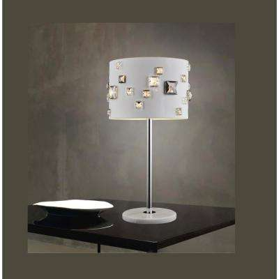 Shadow 19 in. White Table Lamp with White Shade