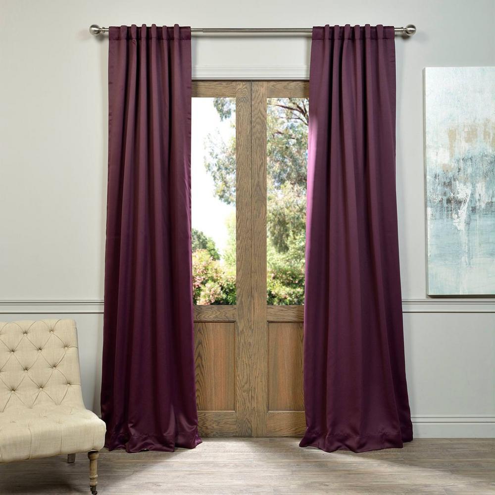 Semi-Opaque Aubergine Purple Blackout Curtain - 50 in. W x 108 in. L (Pair)