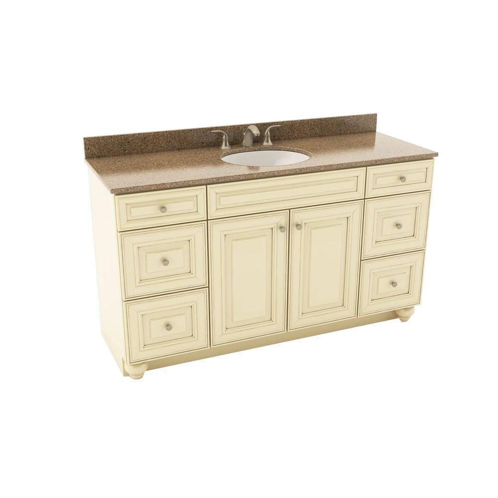American Woodmark Savannah 61 in. Vanity in Hazelnut with Silestone ...