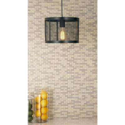 1-Light Pendant with Matte Black Drum-Type Iron Wire Mesh Shade