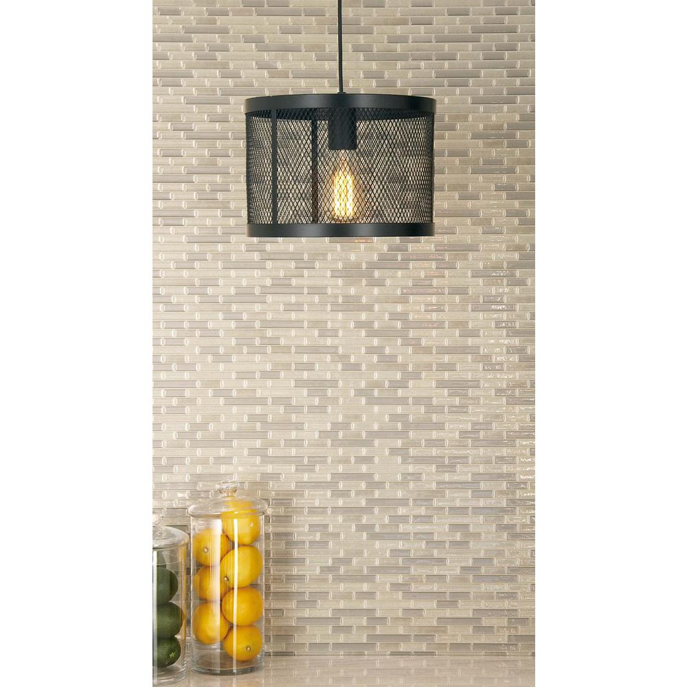 1-Light Pendant with Matte Black Drum-Type Iron Wire Mesh Shade ...