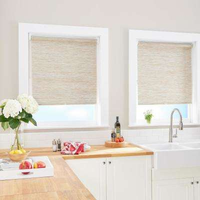Cut-to-Size Natural Cordless Light Filtering Roller Shades 39 in. W x 64 in. L