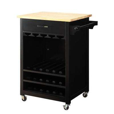 Macie 18-Bottle Black Bar Cart