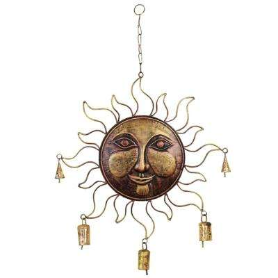 1-Piece Metal Wind Sun Face Chime in Golden with Fine Detailing