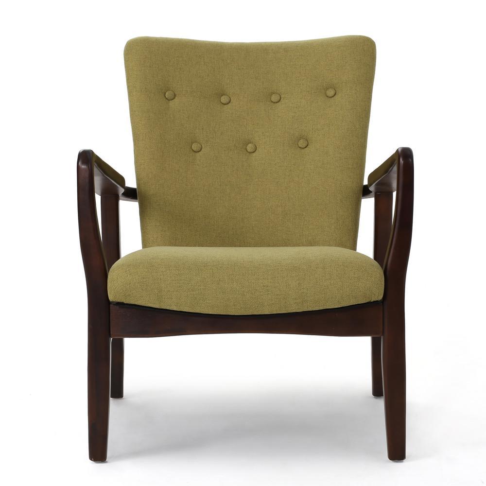 Becker Button Back Wasabi Fabric Armchair