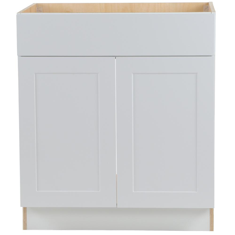Hampton Bay Cambridge Shaker Assembled 30x34.5x24.5 in. Plywood Sink Base Cabinet w/ False Drawer Front & Soft Close Doors in White -  CM3035S-WH